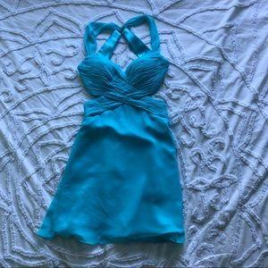 BRAND NEW Faviana baby blue open back short dress